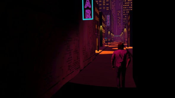 The neon lightning sets the mood for a noir style crime thriller.