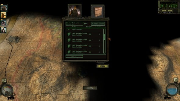 Gags like finding the buried stash of ET cartridges in the desert fill Wasteland 2.