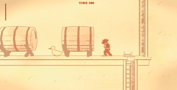 So what do you think that duck thinks about all day, man? Just walking back and forth between two barrels...