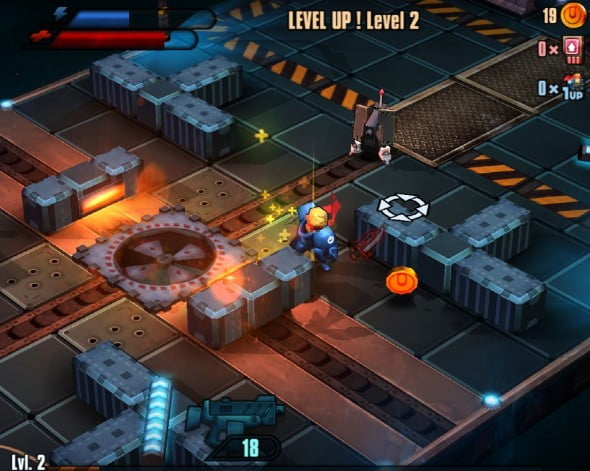 Levels all have a similar look:  set against a sci-fi backdrop, players follow Zed as he tries to shoot his way out of a space station.