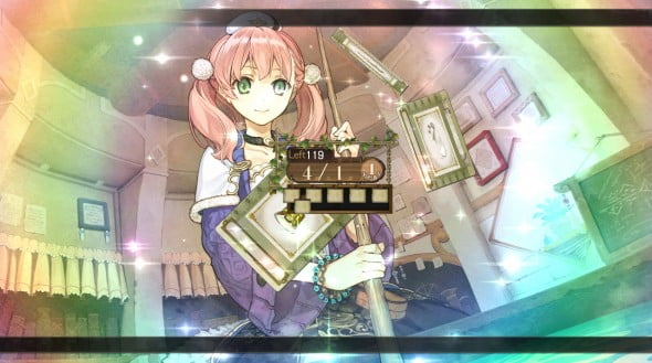 Escha synthesizes elements in a cauldron (outdated technology that Logy struggles with in the game).