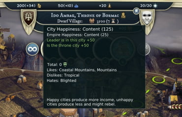 Tool tips in the world map and over bases help players make well-informed strategic decisions.