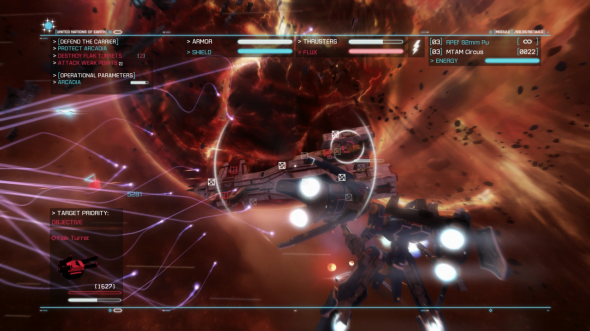 Stunning graphics and deftly maneuverable spacecrafts are Strike Suit's signatures.