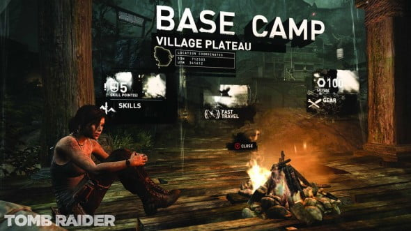 Save points occur at Base Camps. Here, upgrade weapons, save your game's progress, change your outfit, and review your pilfered relics.