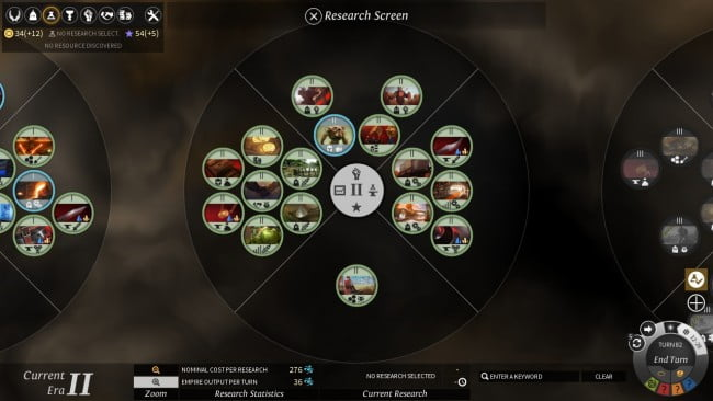 The Research screen allows you to discover new technologies, soldiers, and buildings to help develop your cities.
