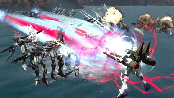 Imploding hundreds of Gundam at once is just par for the course here as you zip through space.