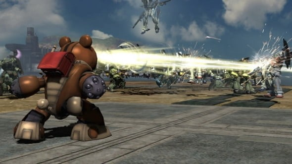 With an impressive roster pulling from most Gundam franchise, even robots like Gundam BEAR come out to play! Only he can prevent Gundam forest fires!