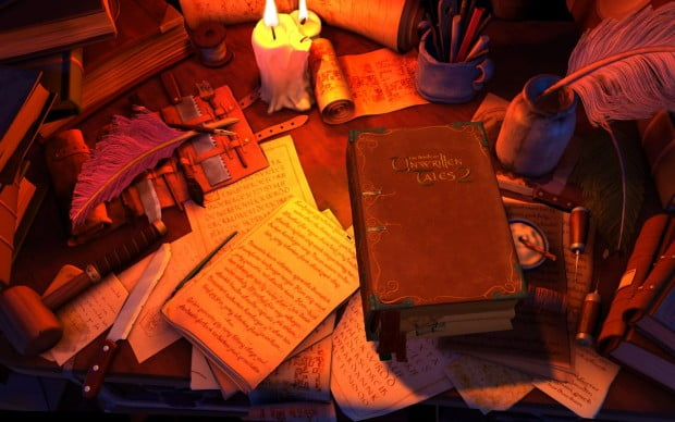The book is an adorable way to start out the game, and it's also your menu as you play.