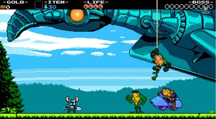 Shovel Knight is getting a major push from Sony, Nintendo, and Microsoft, with Sony and Microsoft getting exclusive Kratos and Battletoads characters respectively.