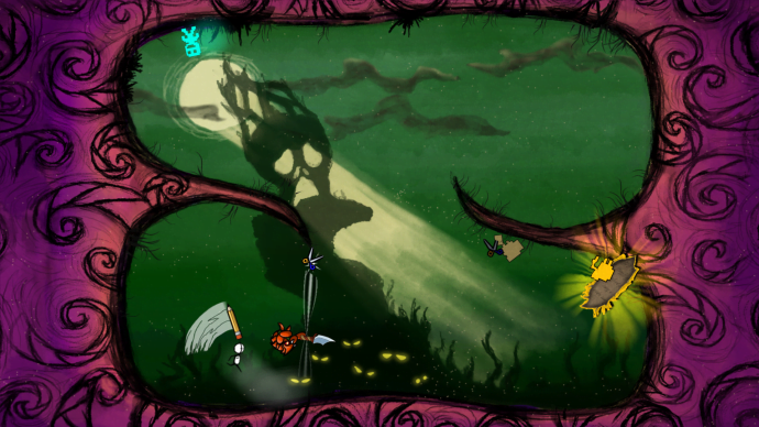 Players work against each other, running up walls, lobbing scissors and ink grenades, and just generally trying to beat face, up until a player is about to escape (that is, win). Once a win is all but in the bag, players must scurry to a portal in order to complete the level. Then, all enemies work together to stop this maverick from closing the book.