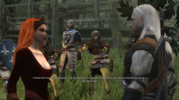 Adda (in human form) claims she must kill Geralt to keep her secret.