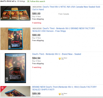 eBay listings of WiiU game Devil's Third