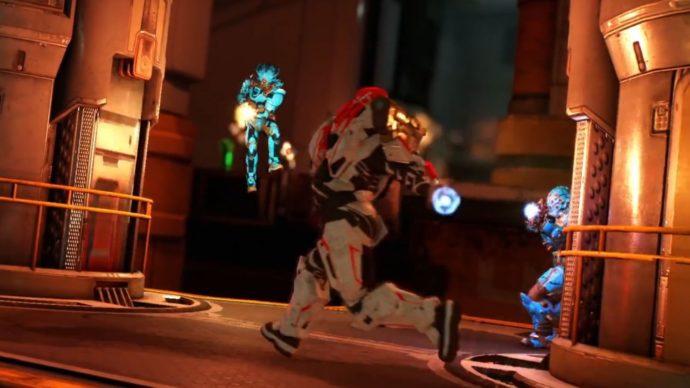 Two teams battling in Doom multiplayer beta