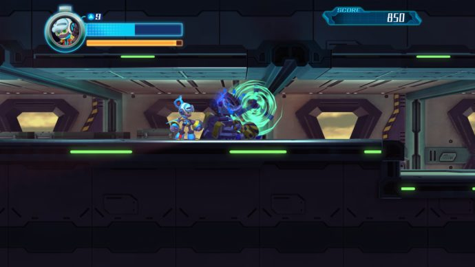 mighty no 9 military base level screenshot