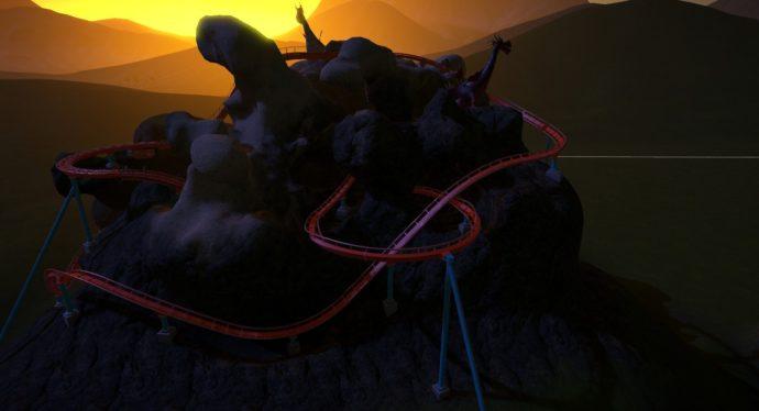 Sunrise over Dragon Mountain (my super subtly named coaster)